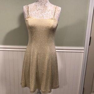 Vintage Fit & Flare Golden Dress w/ Rhinestones